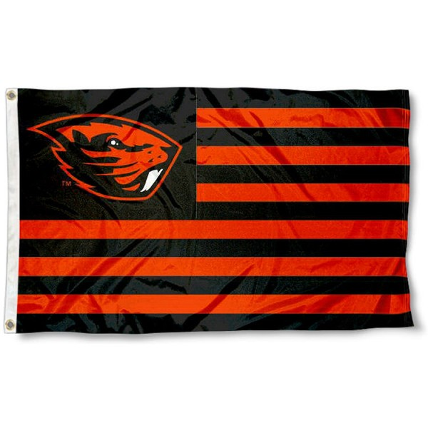 Oregon State Striped Flag measures 3'x5', is made of polyester, offers quadruple stitched flyends for durability, has two metal grommets, and is viewable from both sides with a reverse image on the opposite side. Our Oregon State Striped Flag is officially licensed by the selected school university and the NCAA
