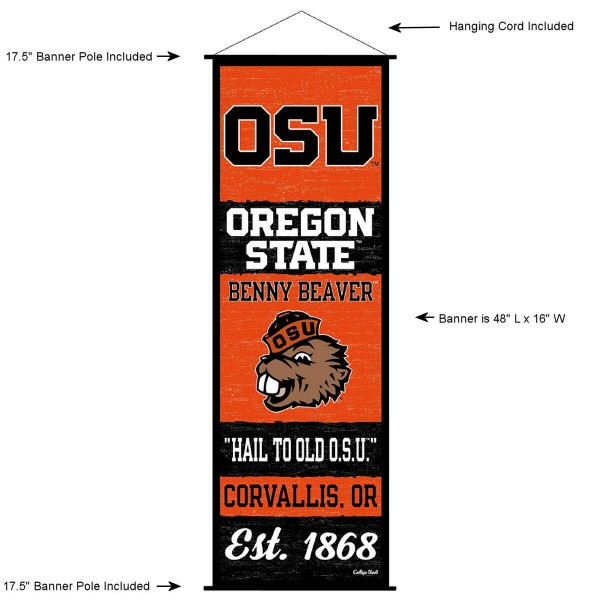 """This """"ready to hang"""" Oregon State University Decor and Banner is made of polyester material, measures a large 17.5"""" x 48"""", offers screen printed athletic logos, and includes both top and bottom 3/4"""" diameter plastic banner poles and hanging cord. Our Oregon State University D�cor and Banner is Officially Licensed by the selected college and NCAA."""