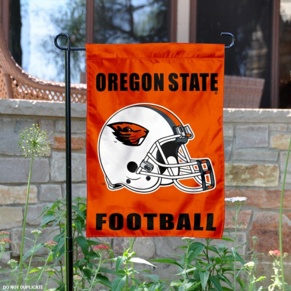 Oregon State University Football Helmet Garden Banner is 13x18 inches in size, is made of 2-layer polyester, screen printed Beavers athletic logos and lettering. Available with Same Day Express Shipping, Our Oregon State University Football Helmet Garden Banner is officially licensed and approved by Beavers and the NCAA.