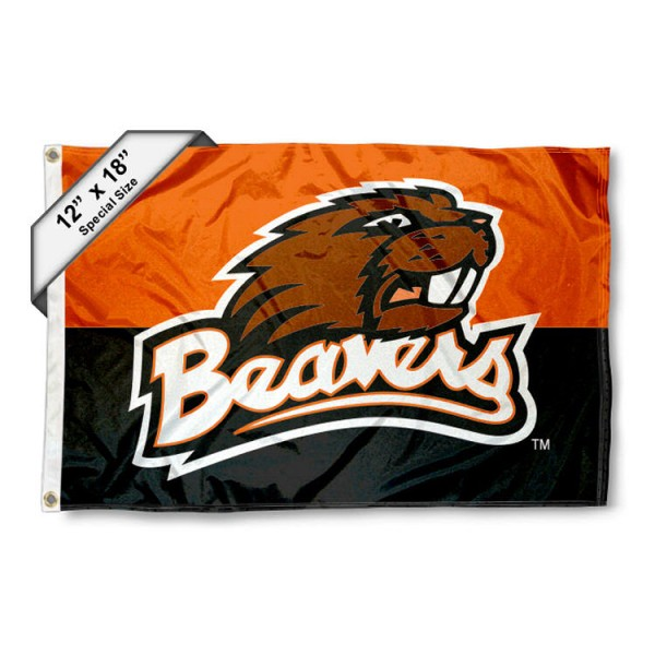 Oregon State University Mini Flag is 12x18 inches, polyester, offers quadruple stitched flyends for durability, has two metal grommets, and is double sided. Our mini flags for Oregon State University are licensed by the university and NCAA and can be used as a boat flag, motorcycle flag, golf cart flag, or ATV flag