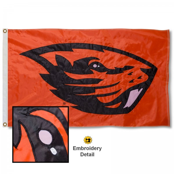 Oregon State University Nylon Embroidered Flag measures 3'x5', is made of 100% nylon, has quadruple flyends, two metal grommets, and has double sided appliqued and embroidered University logos. These Oregon State University 3x5 Flags are officially licensed by the selected university and the NCAA.
