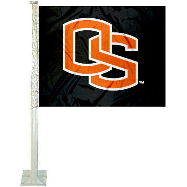 Oregon State University OS Car Flag measures 12x15 inches, is constructed of sturdy 2 ply polyester, and has screen printed school logos which are readable and viewable correctly on both sides. Oregon State University OS Car Flag is officially licensed by the NCAA and selected university.