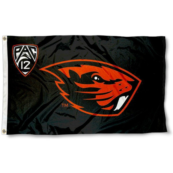 Oregon State University Pac 12 Flag measures 3'x5', is made of 100% poly, has quadruple stitched sewing, two metal grommets, and has double sided Team University logos. Our Oregon State University Pac 12 Flag is officially licensed by the selected university and the NCAA.