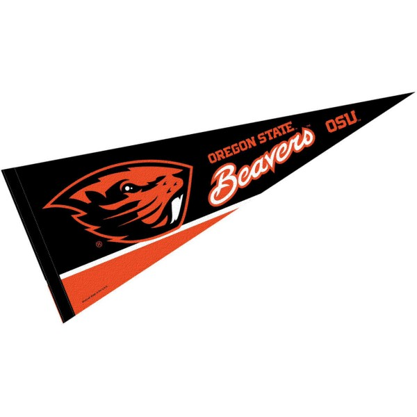 Oregon State University Pennant consists of our full size sports pennant which measures 12x30 inches, is constructed of felt, is single sided imprinted, and offers a pennant sleeve for insertion of a pennant stick, if desired. This Beavers Pennant Decorations is Officially Licensed by the selected university and the NCAA.