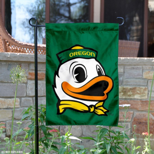 Oregon The Duck Logo Garden Flag is 13x18 inches in size, is made of 2-layer polyester, screen printed Oregon The Duck athletic logos and lettering. Available with Same Day Express Shipping, Our Oregon The Duck Logo Garden Flag is officially licensed and approved by Oregon The Duck and the NCAA.