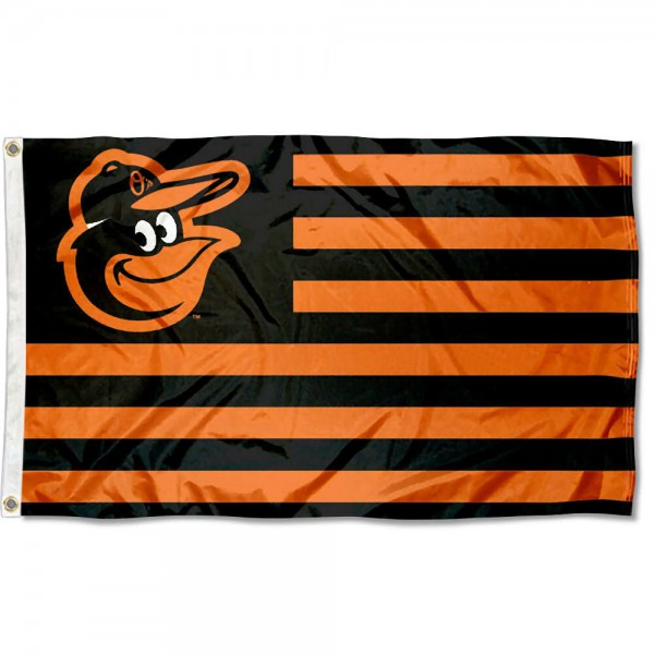 Orioles Nation Flag measures 3x5 feet, is made of polyester, offers quad-stitched flyends, has two metal grommets, and is viewable from both sides with a reverse image on the opposite side. Our Orioles Nation Flag is Genuine MLB Merchandise.