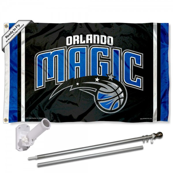 Our Orlando Magic Flag Pole and Bracket Kit includes the flag as shown and the recommended flagpole and flag bracket. The flag is made of polyester, has quad-stitched flyends, and the NBA Licensed team logos are double sided screen printed. The flagpole and bracket are made of rust proof aluminum and includes all hardware so this kit is ready to install and fly.