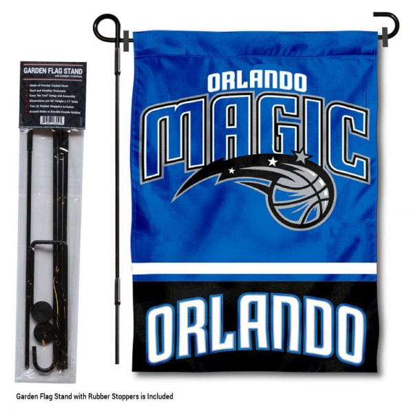 "Orlando Magic Garden Flag and Flagpole Stand kit includes our 12.5""x18"" garden banner which is made of 2 ply poly with liner and has screen printed licensed logos. Also, a 40""x17"" inch garden flag stand is included so your Orlando Magic Garden Flag and Flagpole Stand is ready to be displayed with no tools needed for setup. Fast Overnight Shipping is offered and the flag is Officially Licensed and Approved by the selected team."