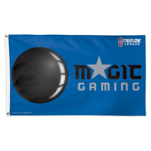 Orlando Magic NBA2K Gaming Flag measures 3x5 feet and offers 4 stitched flyends for durability. Orlando Magic NBA2K Gaming Flag is made of 1-ply polyester, has two metal grommets, and is viewable from both sides with the opposite side being a reverse image. This Orlando Magic NBA2K Gaming Flag is Officially Approved by the Orlando Magic and the NBA.