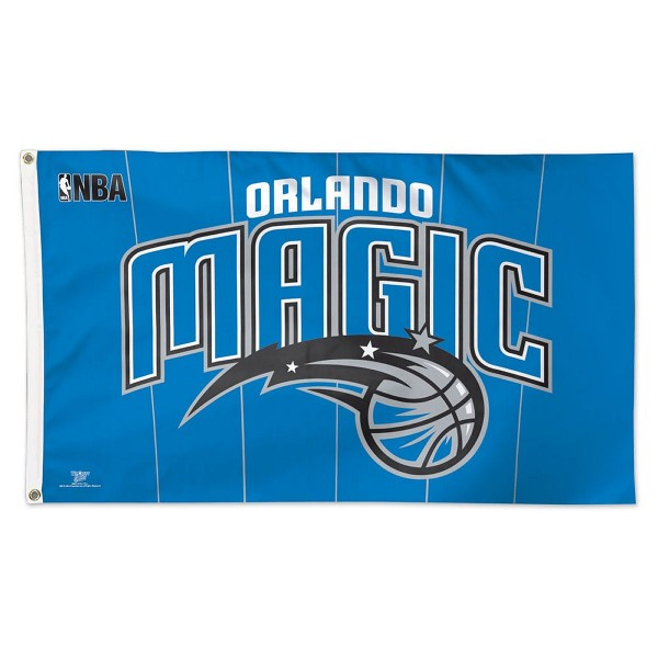 Orlando Magic NBA Flag measures 3x5 feet and offers 4 stitched flyends for durability. Orlando Magic NBA Flag is made of polyester, has two metal grommets, and is viewable from both sides with the opposite side being a reverse image. This Orlando Magic NBA Flag is Officially Approved by the Orlando Magic and the NBA.