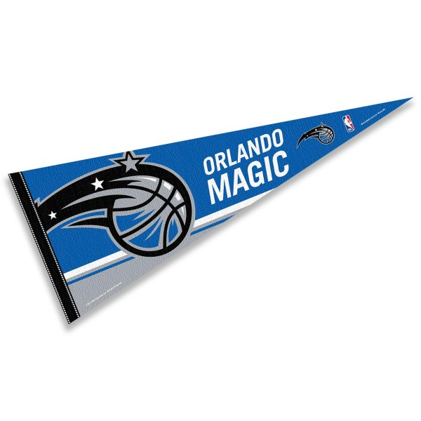This Orlando Magic Pennant measures 12x30 inches, is constructed of felt, and is single sided screen printed with the Orlando Magic logo and insignia. Each Orlando Magic Pennant is a NBA Officially Licensed product.