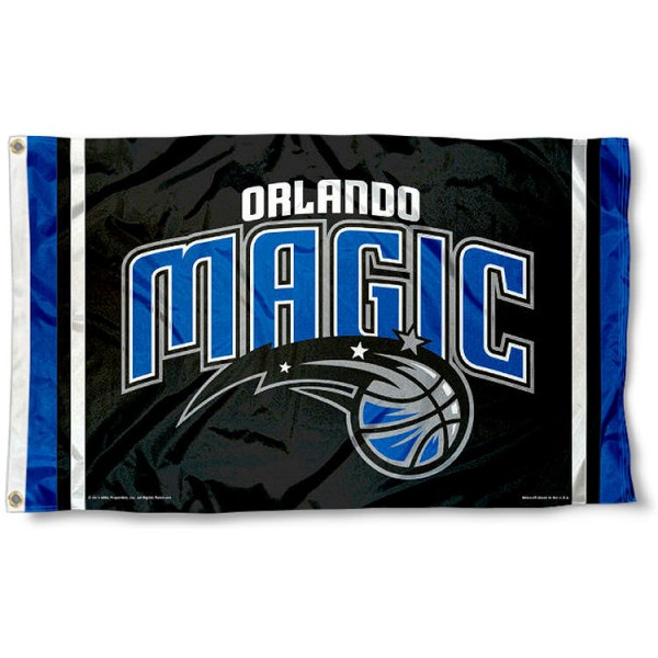 The Orlando Magic Team Flag is four-stitched bordered, double sided, made of poly, 3'x5', and has two grommets. These Orlando Magic Team Flags are NBA Genuine Merchandise.