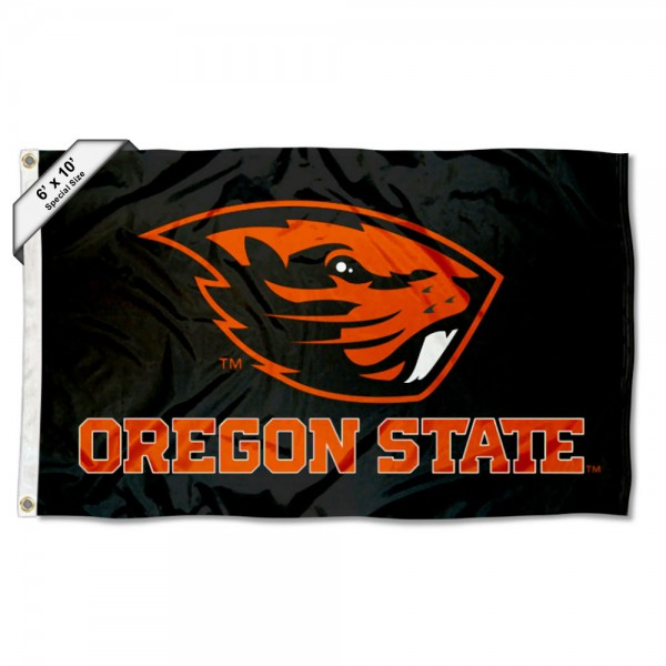 OSU Beavers Black 6'x10' Flag measures 6x10 feet, is made of thick poly, has quadruple-stitched fly ends, and OSU Beavers logos are screen printed into the OSU Beavers Black 6'x10' Flag. This OSU Beavers Black 6'x10' Flag is officially licensed by and the NCAA.
