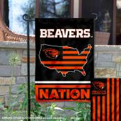 OSU Beavers Garden Flag with USA Country Stars and Stripes