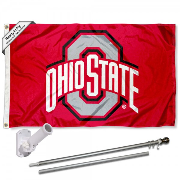 Our OSU Buckeyes Athletic Logo Flag Pole and Bracket Kit includes the flag as shown and the recommended flagpole and flag bracket. The flag is made of nylon, has quad-stitched flyends, and the NCAA Licensed team logos are double sided screen printed. The flagpole and bracket are made of rust proof aluminum and includes all hardware so this kit is ready to install and fly.