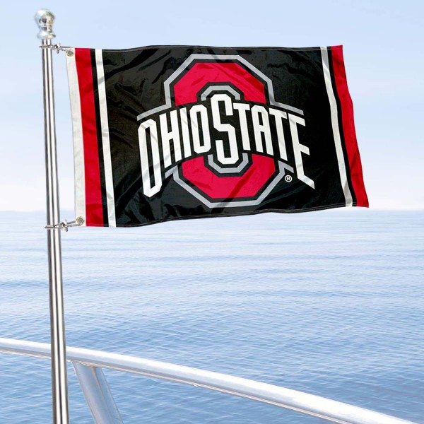 OSU Buckeyes Black Boat Flag is 12x18 inches, nylon, offers quadruple stitched flyends for durability, has two metal grommets, and is double sided. Our mini flags for OSU Buckeyes are licensed by the university and NCAA and can be used as a boat flag, motorcycle flag, golf cart flag, or ATV flag.