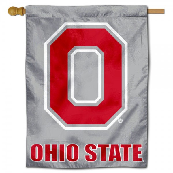 """OSU Buckeyes Block O Banner Flag is constructed of polyester material, is a vertical house flag, measures 30""""x40"""", offers screen printed athletic insignias, and has a top pole sleeve to hang vertically. Our OSU Buckeyes Block O Banner Flag is Officially Licensed by OSU Buckeyes and NCAA."""