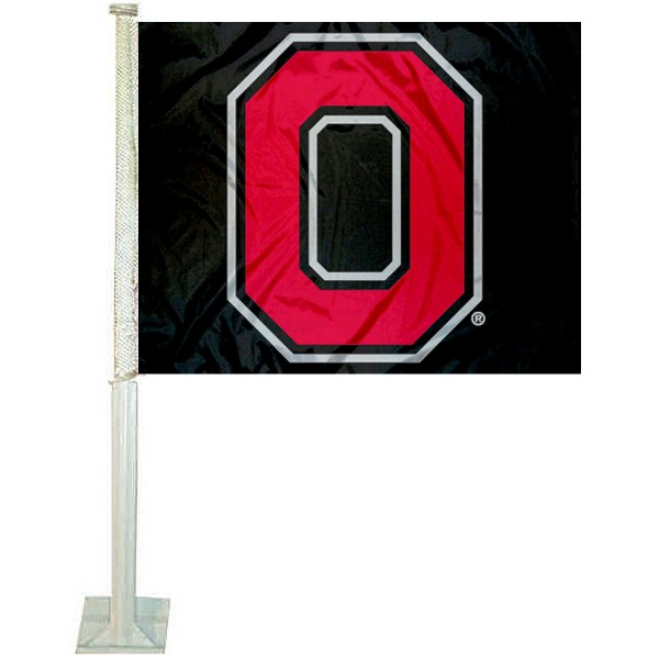 OSU Buckeyes Block O Car Flag measures 12x15 inches, is constructed of sturdy 2 ply polyester, and has screen printed school logos which are readable and viewable correctly on both sides. OSU Buckeyes Block O Car Flag is officially licensed by the NCAA and selected university.