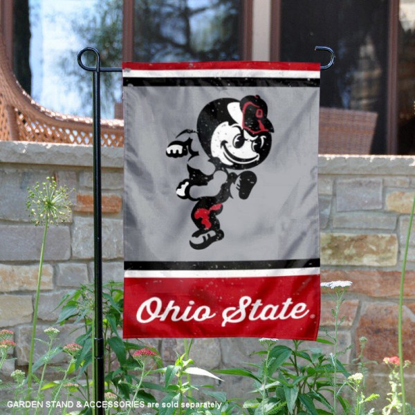 OSU Buckeyes College Vault Logo Garden Flag is 12.5x18 inches in size, is made of 2-layer polyester, screen printed university athletic logos and lettering, and is readable and viewable correctly on both sides. Available same day shipping, our OSU Buckeyes College Vault Logo Garden Flag is officially licensed and approved by the university and the NCAA.