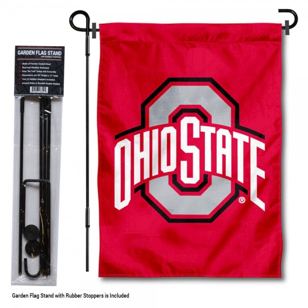 """OSU Buckeyes Garden Flag and Stand kit includes our 13""""x18"""" garden banner which is made of 2 ply poly with liner and has screen printed licensed logos. Also, a 40""""x17"""" inch garden flag stand is included so your OSU Buckeyes Garden Flag and Stand is ready to be displayed with no tools needed for setup. Fast Overnight Shipping is offered and the flag is Officially Licensed and Approved by the selected team."""