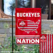 OSU Buckeyes Garden Flag with USA Country Stars and Stripes