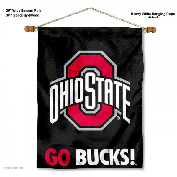 "OSU Buckeyes Go Bucks Wall Banner is constructed of polyester material, measures a large 28""x40"", offers screen printed athletic logos, and includes a sturdy 3/4"" diameter and 36"" wide banner pole and hanging cord. Our OSU Buckeyes Go Bucks Wall Banner is Officially Licensed by the selected college and NCAA."