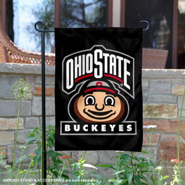 OSU Buckeyes Mascot Head Brutus Garden Flag is 13x18 inches in size, is made of 2-layer polyester, screen printed university athletic logos and lettering. Available with Same Day Express Shipping, our OSU Buckeyes Mascot Head Brutus Garden Flag is officially licensed and approved by the university and the NCAA.