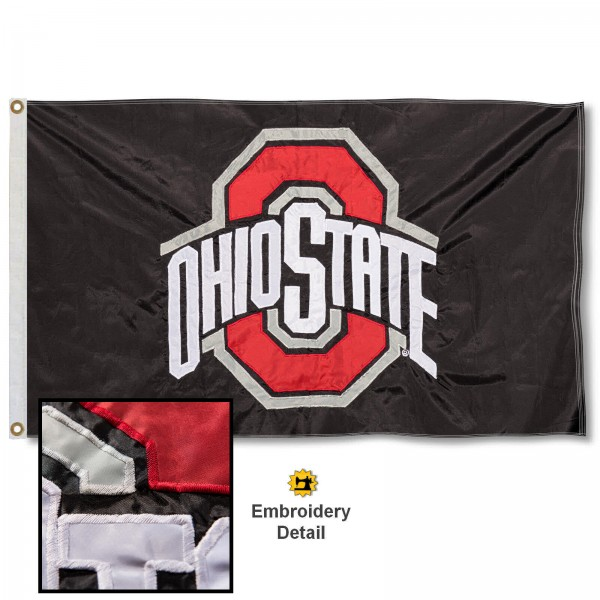 OSU Buckeyes Nylon Embroidered Flag measures 3'x5', is made of 100% nylon, has quadruple flyends, two metal grommets, and has double sided appliqued and embroidered University logos. These OSU Buckeyes 3x5 Flags are officially licensed by the selected university and the NCAA.