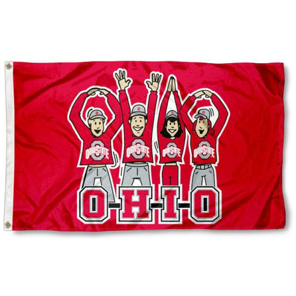 OSU Buckeyes OHIO Cheer Logo Flag is made of 100% nylon, offers quad stitched flyends, measures 3x5 feet, has two metal grommets, and is viewable from both side with the opposite side being a reverse image. Our OSU Buckeyes OHIO Cheer Logo Flag is officially licensed by the selected college and NCAA