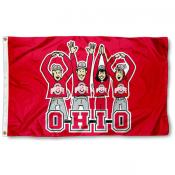 OSU Buckeyes OHIO Cheer Logo Flag