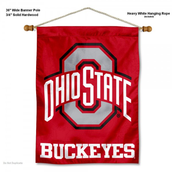 "OSU Buckeyes Scarlet Wall Banner is constructed of polyester material, measures a large 30""x40"", offers screen printed athletic logos, and includes a sturdy 3/4"" diameter and 36"" wide banner pole and hanging cord. Our OSU Buckeyes Scarlet Wall Banner is Officially Licensed by the selected college and NCAA."