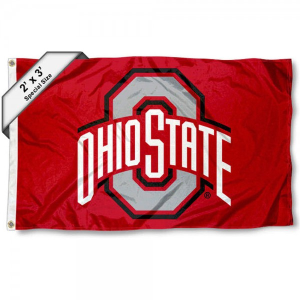 OSU Buckeyes Small 2'x3' Flag measures 2x3 feet, is made of 100% polyester, offers quadruple stitched flyends, has two brass grommets, and offers printed OSU Buckeyes logos, letters, and insignias. Our 2x3 foot flag is Officially Licensed by the selected university.