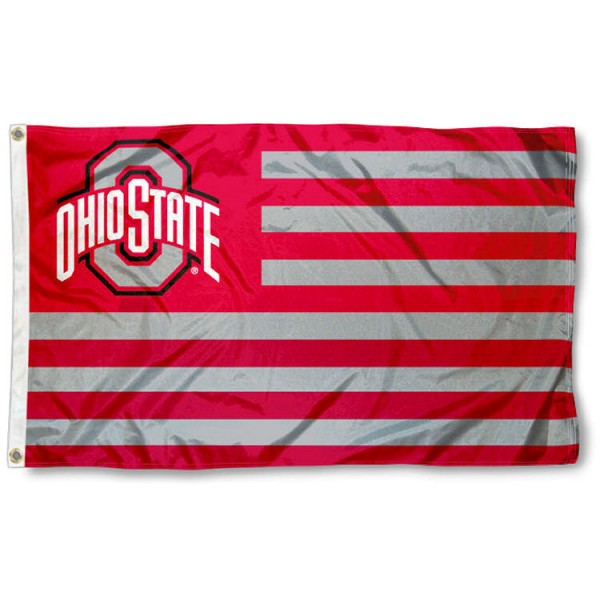OSU Buckeyes Stripes Nation Flag measures 3'x5', is made of nylon, offers four-stitched flyends for durability, has two metal grommets, and is viewable from both sides with a reverse image on the opposite side. Our OSU Buckeyes Stripes Nation Flag is officially licensed by the selected school university and the NCAA.
