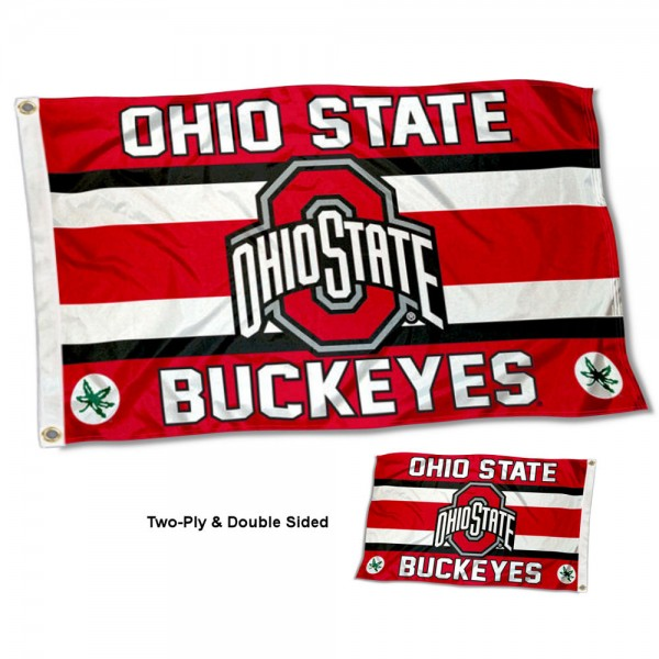 OSU Buckeyes Two Sided Flag measures 3'x5', is made of 2 layer 100% nylon, has quadruple stitched flyends for durability, and is readable correctly on both sides. Our OSU Buckeyes Two Sided Flag is officially licensed by the university, school, and the NCAA.