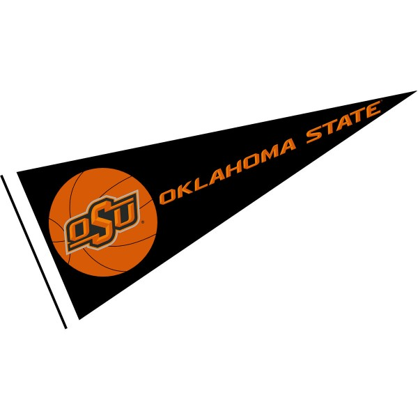 OSU Cowboys Basketball Pennant consists of our full size sports pennant which measures 12x30 inches, is constructed of felt, is single sided imprinted, and offers a pennant sleeve for insertion of a pennant stick, if desired. This OSU Cowboys Pennant Decorations is Officially Licensed by the selected university and the NCAA.