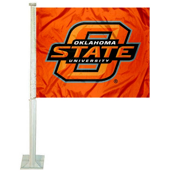 OSU Cowboys Car Window Flag measures 12x15 inches, is constructed of sturdy 2 ply polyester, and has screen printed school logos which are readable and viewable correctly on both sides. OSU Cowboys Car Window Flag is officially licensed by the NCAA and selected university.