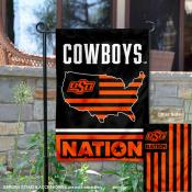 OSU Cowboys Garden Flag with USA Country Stars and Stripes