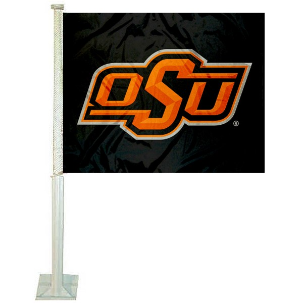 OSU Cowboys Logo Car Flag measures 12x15 inches, is constructed of sturdy 2 ply polyester, and has screen printed school logos which are readable and viewable correctly on both sides. OSU Cowboys Logo Car Flag is officially licensed by the NCAA and selected university.