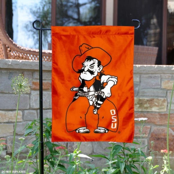 OSU Cowboys Orange Mascot Garden Flag is 13x18 inches in size, is made of 2-layer polyester, screen printed Oklahoma State University athletic logos and lettering. Available with Same Day Express Shipping, Our OSU Cowboys Orange Mascot Garden Flag is officially licensed and approved by Oklahoma State University and the NCAA.
