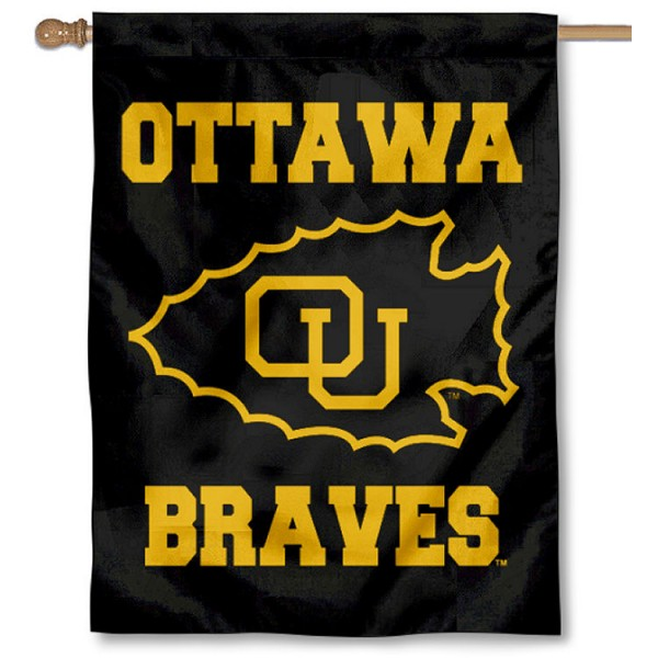Ottawa Braves Logo Double Sided House Flag is a vertical house flag which measures 30x40 inches, is made of 2 ply 100% polyester, offers screen printed NCAA team insignias, and has a top pole sleeve to hang vertically. Our Ottawa Braves Logo Double Sided House Flag is officially licensed by the selected university and the NCAA.