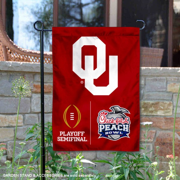 OU Sooners College Football CFP Semifinal Game Garden Flag is 13x18 inches in size, is made of 2-layer polyester, screen printed university athletic logos and lettering, and is readable and viewable correctly on both sides. Available same day shipping, our OU Sooners College Football CFP Semifinal Game Garden Flag is officially licensed and approved by the university and the NCAA.