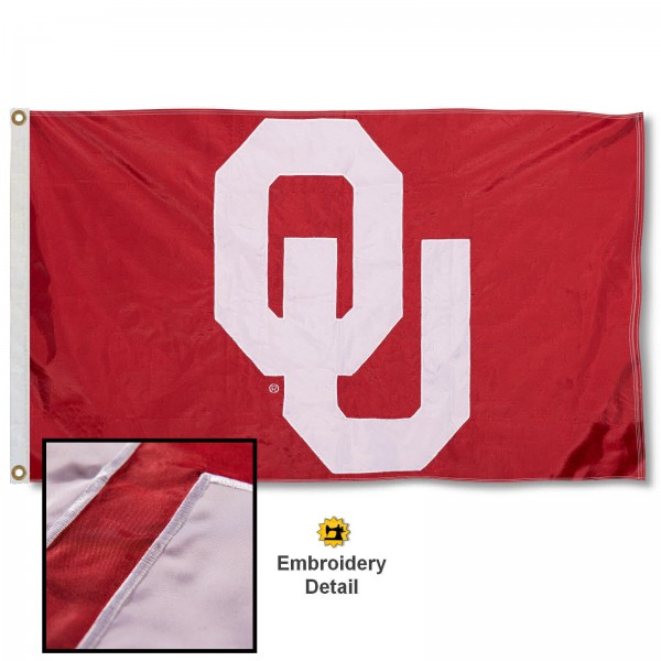 OU Sooners Nylon Embroidered Flag measures 3'x5', is made of 100% nylon, has quadruple flyends, two metal grommets, and has double sided appliqued and embroidered University logos. These OU Sooners 3x5 Flags are officially licensed by the selected university and the NCAA.