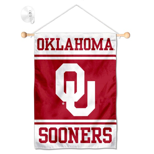 """OU Sooners Window and Wall Banner kit includes our 13""""x18"""" garden banner which is made of 2 ply poly with liner and has screen printed licensed logos. Also, a 17"""" wide banner pole with suction cup is included so your OU Sooners Window and Wall Banner is ready to be displayed with no tools needed for setup. Fast Overnight Shipping is offered and the flag is Officially Licensed and Approved by the selected team."""