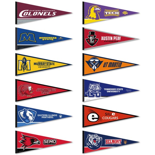 OVC Conference Pennants consists of all Ohio Valley Conference school pennants and measure 12x30 inches. All 12 OVC Conference teams are included and the OVC Conference Pennants is officially licensed by the NCAA and selected conference schools.