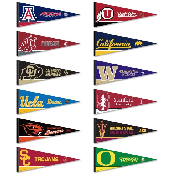 Pac 12 Conference Pennants consists of all Pac 12 Conference school pennants and measure 12x30 inches. All 12 Pac Twelve Conference teams are included and the Pac 12 Conference Pennants is officially licensed by the NCAA and selected conference schools.