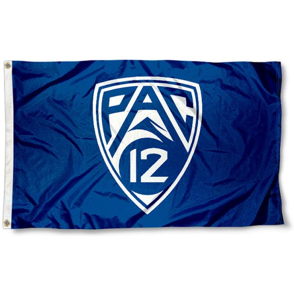 PAC 12 Flag measures 3'x5', is made of 100% poly, has quadruple stitched sewing, two metal grommets, and has double sided PAC 12 logos. Our PAC 12 Flag is officially licensed by the Pacific 12 Conference and the NCAA
