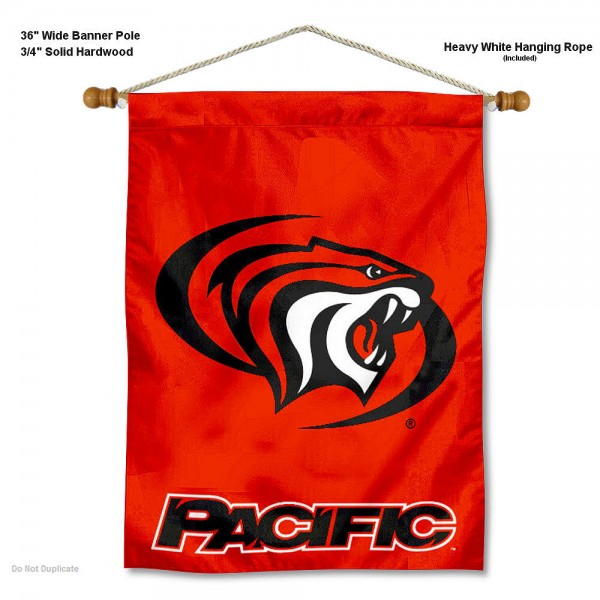 "Pacific Tigers Wall Banner is constructed of polyester material, measures a large 30""x40"", offers screen printed athletic logos, and includes a sturdy 3/4"" diameter and 36"" wide banner pole and hanging cord. Our Pacific Tigers Wall Banner is Officially Licensed by the selected college and NCAA."