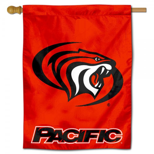 "Pacific University House Flag is constructed of polyester material, is a vertical house flag, measures 30""x40"", offers screen printed athletic insignias, and has a top pole sleeve to hang vertically. Our Pacific University House Flag is Officially Licensed by Pacific University and NCAA."