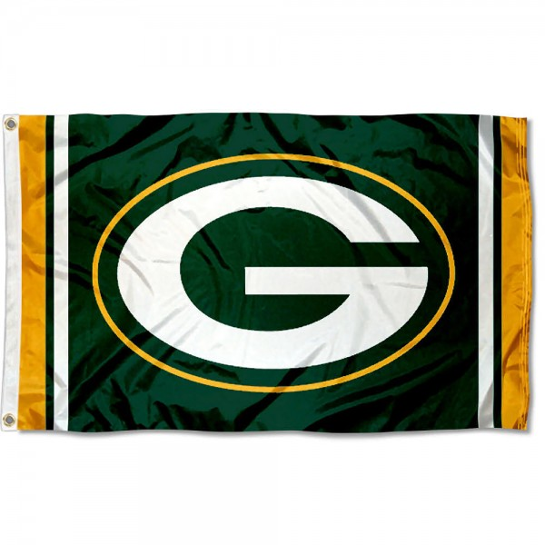Our Packers G Logo Flag is double sided, made of poly, 3'x5', has two grommets, and four-stitched fly ends. These Packers G Logo Flags are Officially Licensed by the NFL.