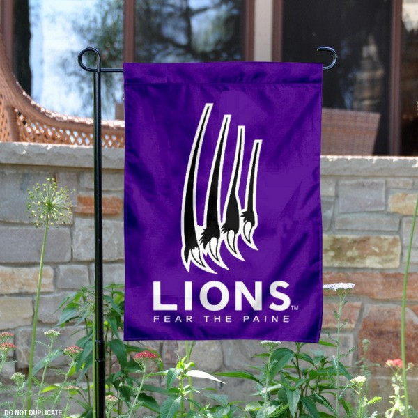 Paine Lions Paw Logo Garden Flag is 13x18 inches in size, is made of 2-layer polyester, screen printed university athletic logos and lettering, and is readable and viewable correctly on both sides. Available same day shipping, our Paine Lions Paw Logo Garden Flag is officially licensed and approved by the university and the NCAA.